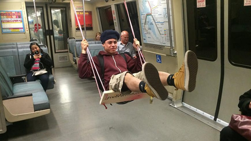Artist builds a working swing on a BART Train
