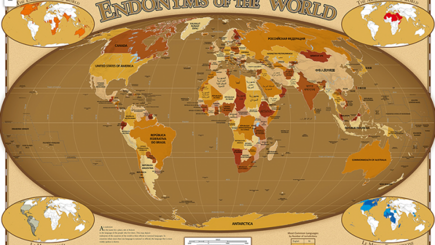 This world map shows you the name of every country in its own official language