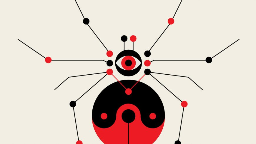 Black and Red Calder-Like Illustrations Combine Geometric Shapes into Spiders, Jellyfish, and Birds