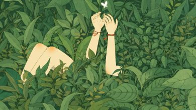 Lovely storybook illustrations of people communing with nature by Jin Xingye