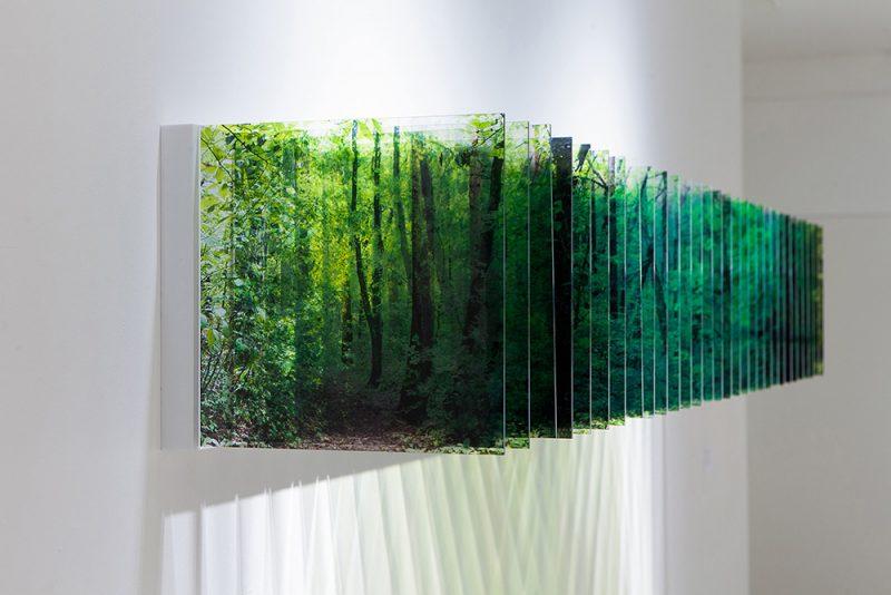 Three-dimensional landscapes formed with layered acrylic photographs by Nobuhiro Nakanishi