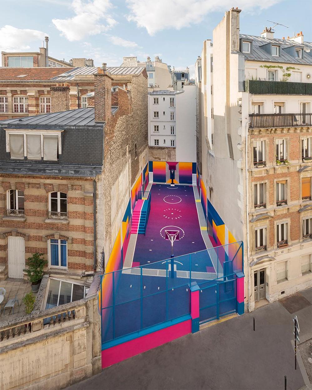 A Technicolor Basketball Court Emerges in Paris