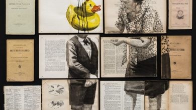 Fragmented Ink Paintings on Arrays of Vintage Books by Ekaterina Panikanova