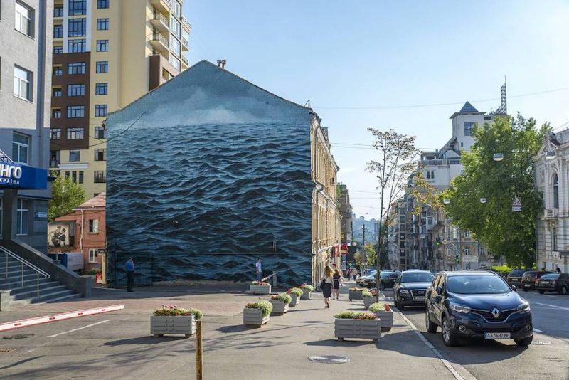 A Turbulent Black Sea Fills a Three-Story Wall in Kiev, Ukraine