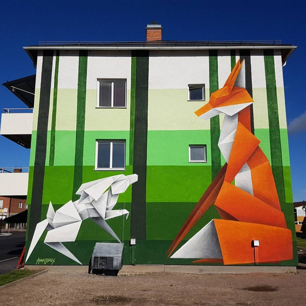 Origami Animals Bound Across Walls in Murals by 'Annatomix'