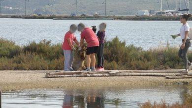 Μαθητές του δημοτικού συνέβαλαν στoν καθαρισμό της λιμνοθάλασσας