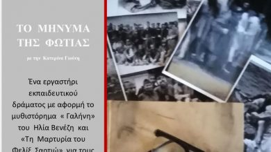 Εκπαιδευτικό εργαστήριο «Το μήνυμα της φωτιάς, η ιστορία υποδοχής των προσφύγων της Φώκαιας στις νέες τους πατρίδες» στη ΔΒΛ