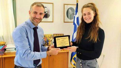 Τιμητική βράβευση της πρωταθλήτριας Κορίνας Πολίτη από τον Αντιπεριφερειάρχη Λευκάδας