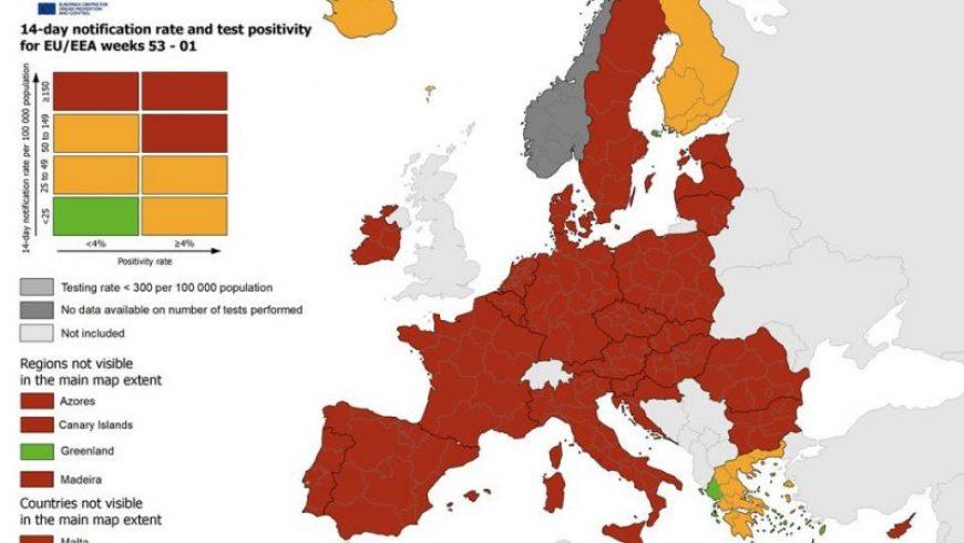 ECDC: Ήπειρος, Ιόνιο και νησιά του Αιγαίου οι μόνες πράσινες περιοχές στην Ευρώπη