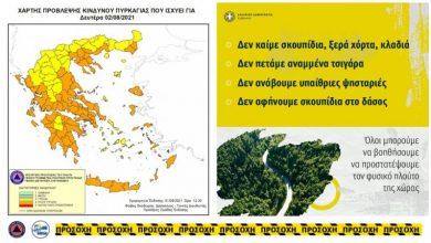 Π.Ε. Λευκάδας: Πολύ υψηλός κίνδυνος πυρκαγιάς και Καύσωνας για σήμερα Δευτέρα 2 Αυγούστου